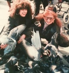 My sister and I feeding pigeons in St. Mark's Square