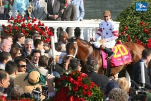 Big Brown in the winners circle at the Kentucky Derby