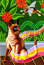 "Mary ""Mitzi"" Morrato is from New Mexico. Her painting "" Cat and Mouse""was reproduced for THASC Sales Co. who has employed a unique group of handicapped artists who create art and help rehabilitate themselves."