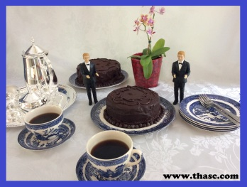 One cake made with rich tea biscuits (cookies).