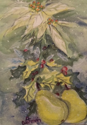 Poinsettias and Pears